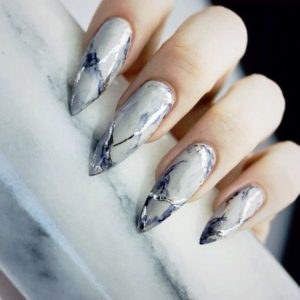 silver marble nails