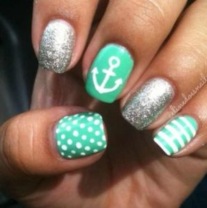 siver and green nails