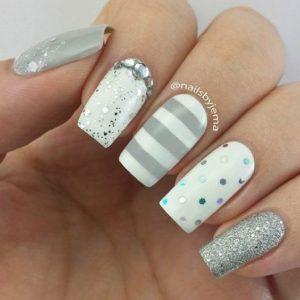 striped silver nail