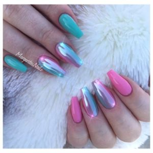 chrome nails barbie