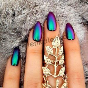 chrome nails black edge