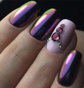chrome nails lavender princess