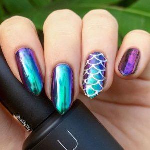chrome nails mermaid