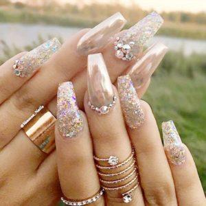 chrome nails nude