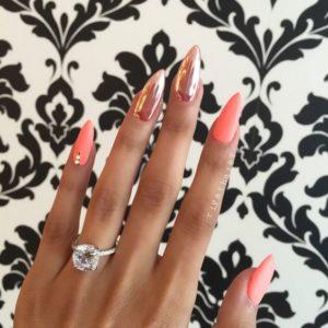 chrome nails peach princess