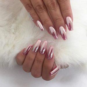 chrome nails pink