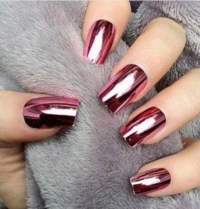 chrome nails rose gold