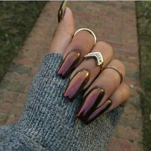 chrome nails smokey bronze