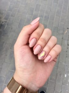 nude crystal almond nails
