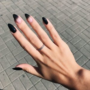 pointy black nail design