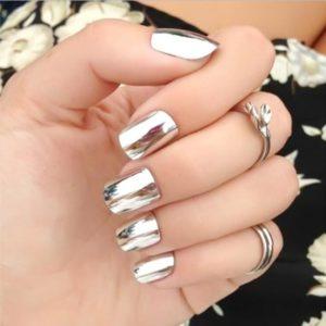 silver mirror nails