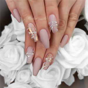 beige color splash gel nails