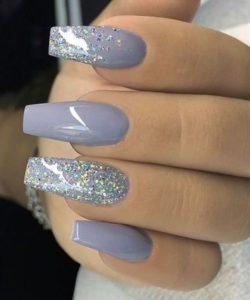 blue grey Gel Nails