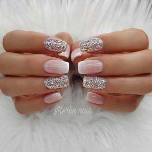 glitter pink white Gel Nails