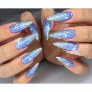 Blue Glitter Ombre Pointy Stiletto Nails