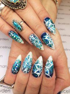 Blue Mandala Pointy Stiletto Nails