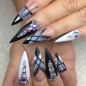 Geometric Pointy Stiletto Nails