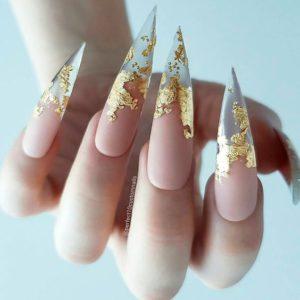 Gold Foil Pointy Stiletto Nails