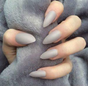 Light Grey Pointy Stiletto Nails