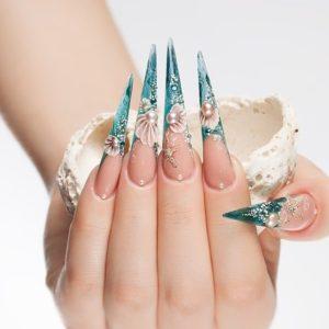 Mermaid Pointy Stiletto Nails