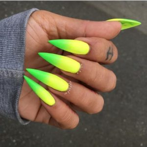 Neon Pointy Stiletto Nails