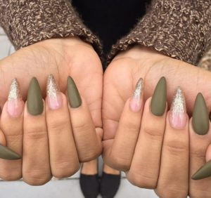 Olive Matte Green Pointy Stiletto Nails With Glitter Tips