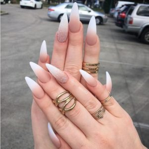 Ombre Pointy Stiletto Nails