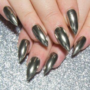 Silver Chrome Mirror Pointy Stiletto Nails