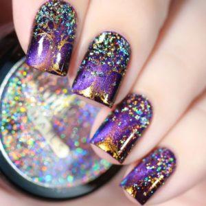 Purple Sparkle Nails