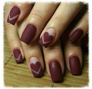 Burgundy Love Nails
