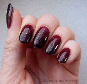 Burgundy Nails with a Glittered Base Coat