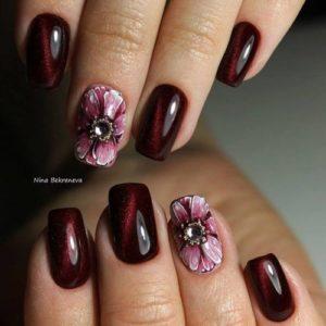 Burgundy Spring Nails