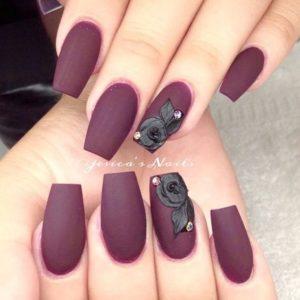 Dark Burgundy Nails with Black Rose Detail
