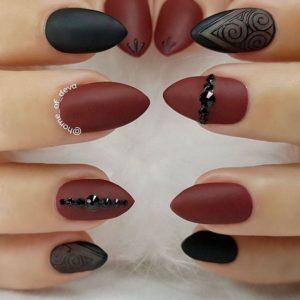 Embellished Matte Burgundy and Black Nails
