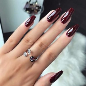 Extra Long Patent Burgundy Nails
