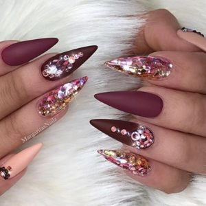 Stiletto Nails with Heavy Embellishment