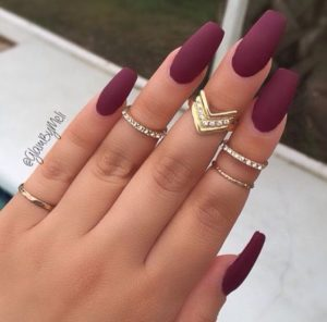 Matte Burgundy Nails with Gold Jewellery