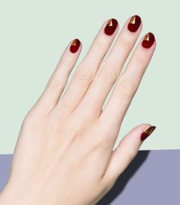Natural Burgundy Nails with Gold Transfer Design