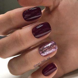 Pink Glittered Ring Finger Nail