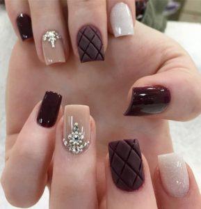 Pink and Burgundy Embellished Nails