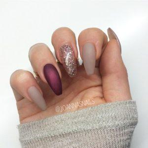 Burgundy nude Nails