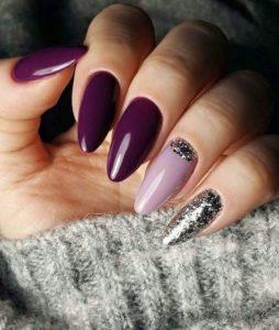 almond purple burgundy nails