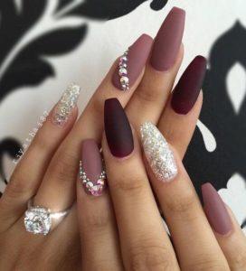 glitter coffin burgundy nails