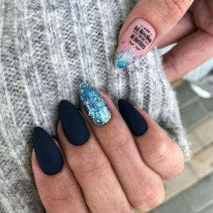 black pink blue glitter nails