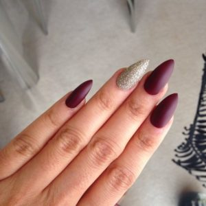 matte burgundy almond nails