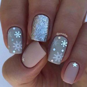 grey snowflakes nails