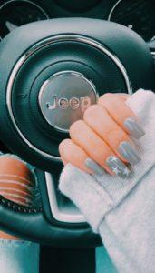 Grey stars nails
