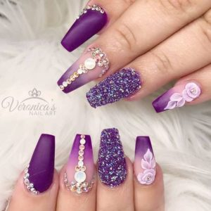 Glitter and Bling Purple Nails