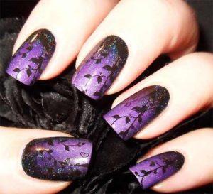 Gothic Silhouette Purple Nail Design