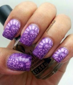 Mandala Inspired Print on Purple Nails